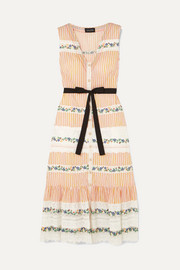 Saloni Lorna ruffled embroidered lace and striped cotton dress