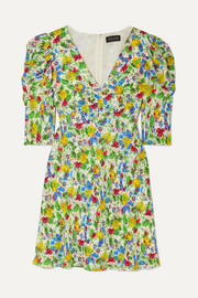 Saloni Colette floral-print crepe de chine mini dress