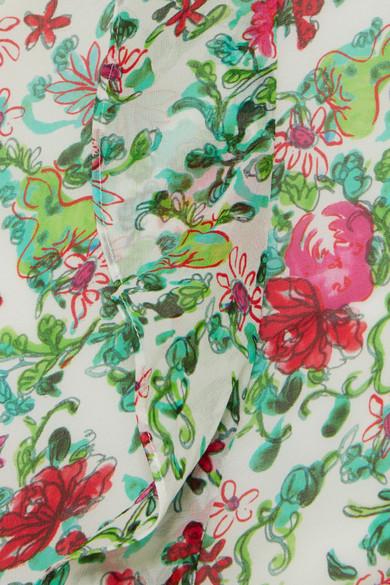 Saloni Dresses Tamara ruffled floral-print silk-georgette maxi dress