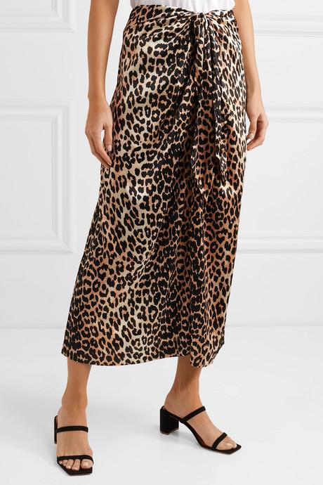 Tie-front leopard-print silk-blend satin midi skirt