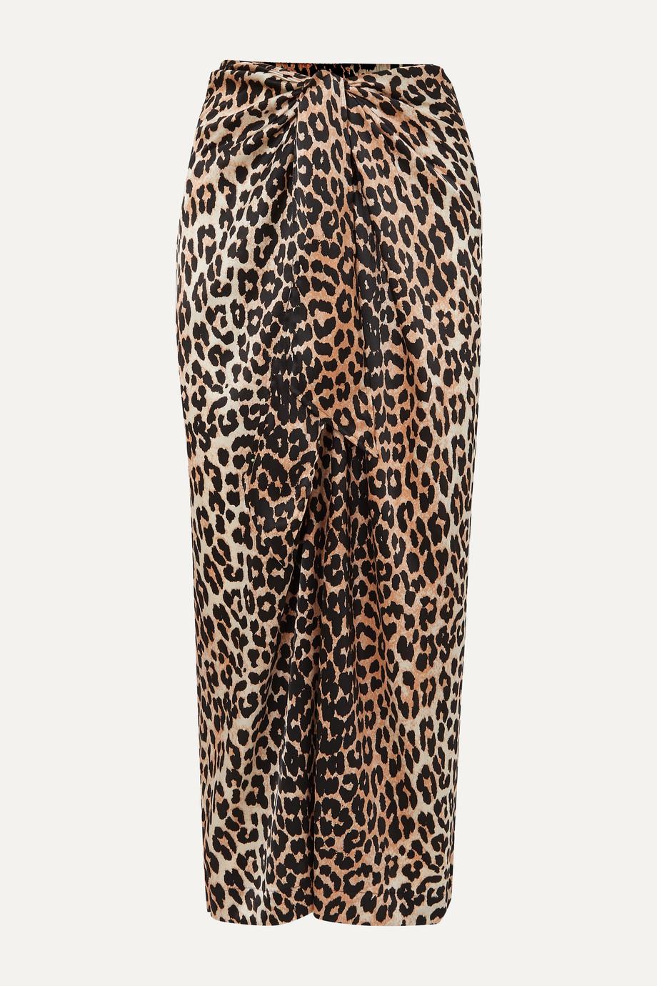 GANNI Tie-front leopard-print silk-blend satin midi skirt