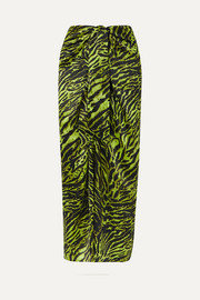 GANNI Tie-front tiger-print silk-blend satin midi skirt