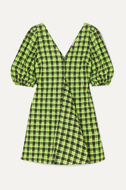 GANNI Checked cotton-blend seersucker mini dress