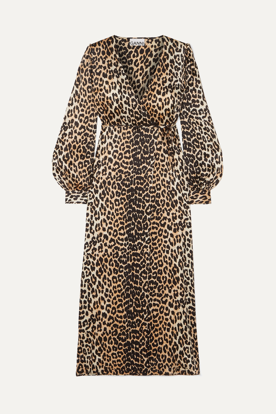 GANNI Leopard-print silk-blend satin wrap dress