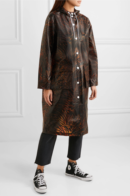 GANNI Tiger-print matte-TPU raincoat