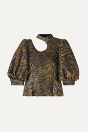 GANNI Tiger-print cutout Lurex blouse