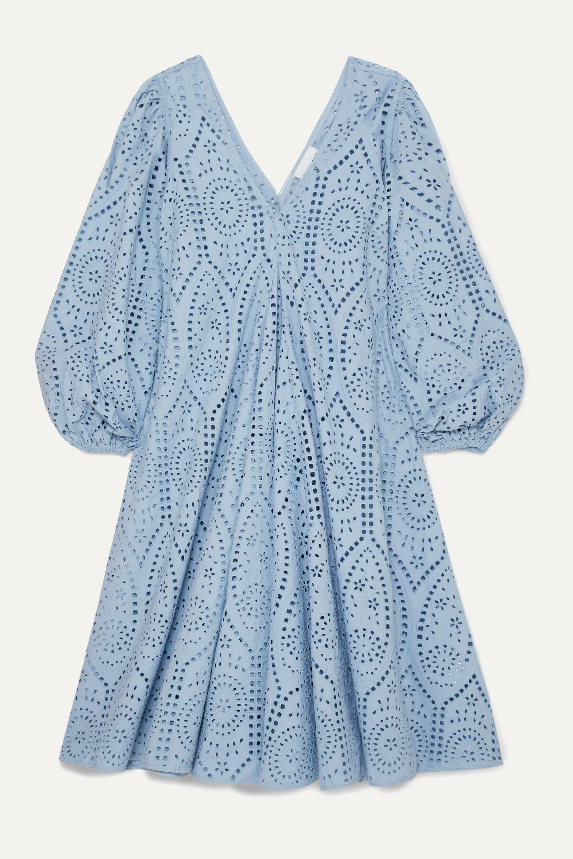 GANNI Broderie anglaise cotton midi dress