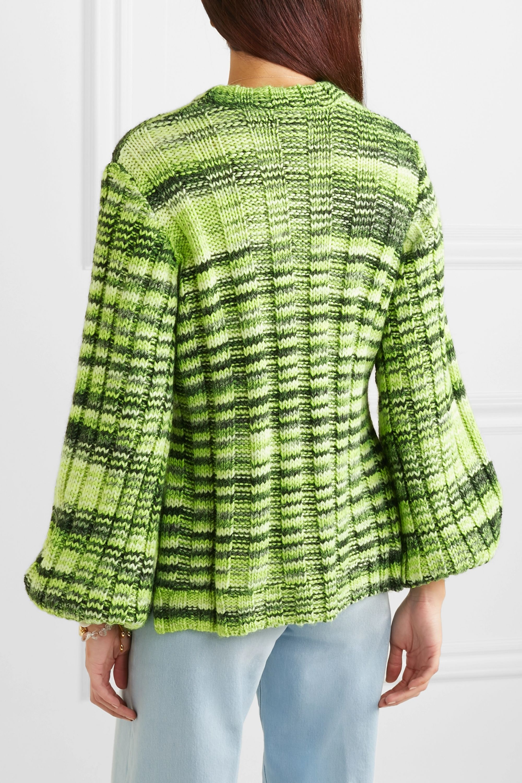 GANNI Neon mélange ribbed-knit sweater