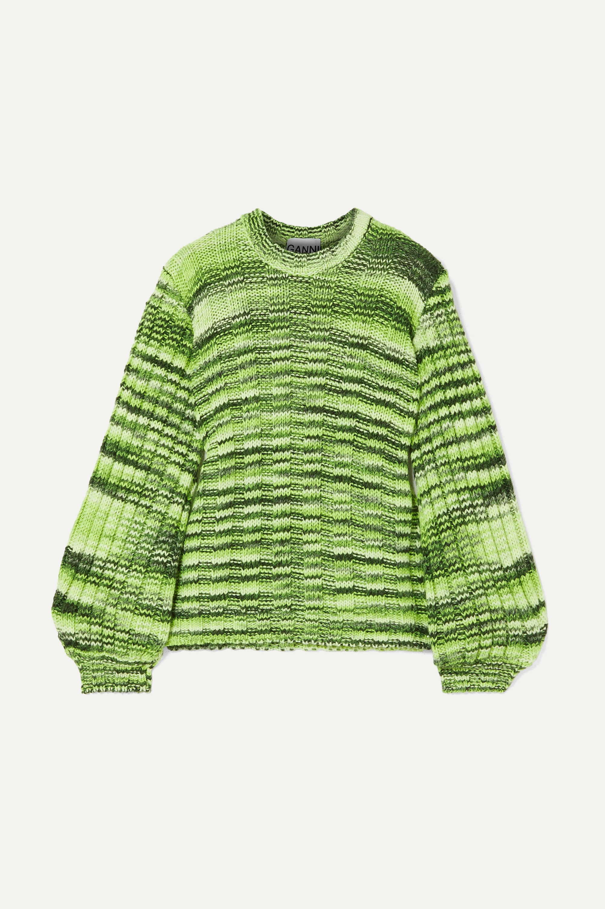 Neon mélange ribbed knit sweater