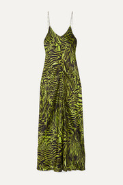 GANNI Tiger-print stretch-silk satin maxi dress