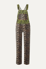 GANNI Paneled animal-print denim overalls