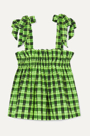 GANNI Neon checked cotton-blend seersucker top