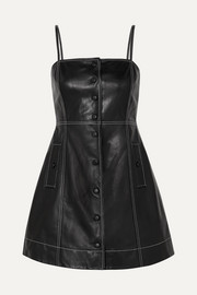 GANNI Smocked leather mini dress