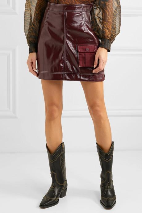 Faux patent-leather mini skirt