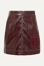 Faux patent-leather mini skirt