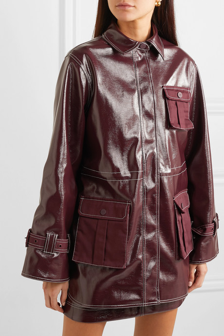 Canvas-paneled faux patent-leather jacket