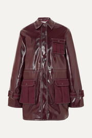 Canvas-paneled faux patent-leather jacket