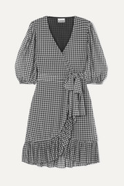 Gingham mesh wrap mini dress