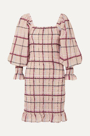 Shirred checked cotton and silk-blend mini dress