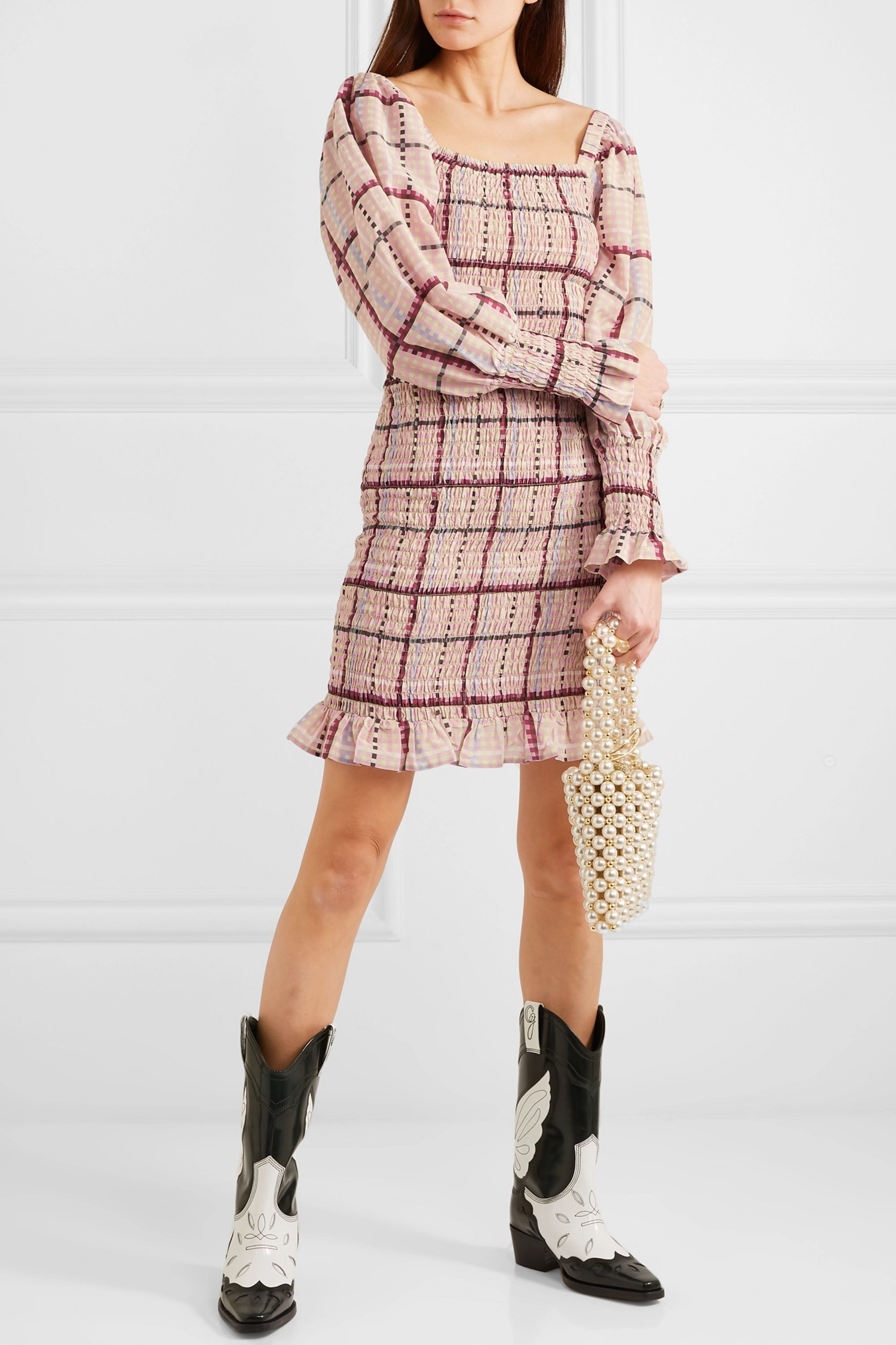 GANNI Shirred checked cotton and silk-blend mini dress