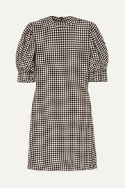 GANNI Gingham crepe mini dress