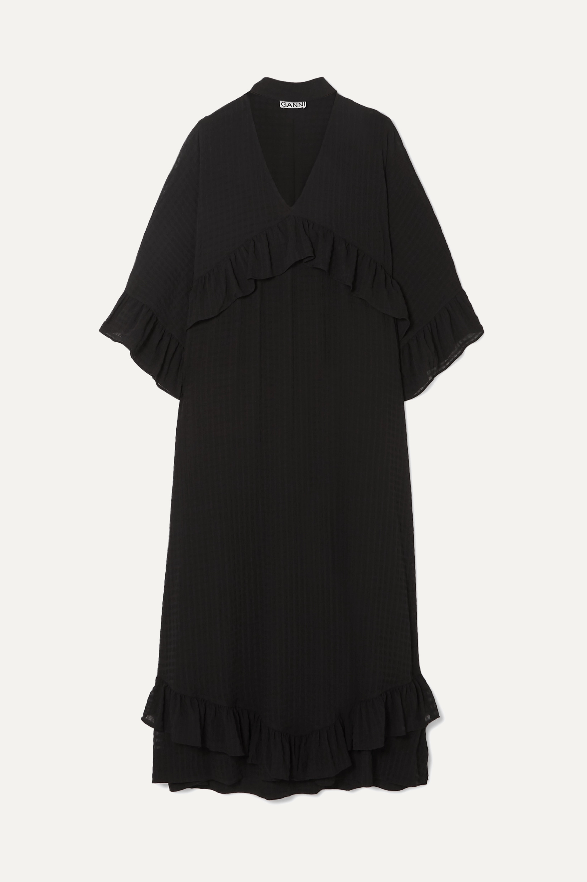 ganni seersucker dress black