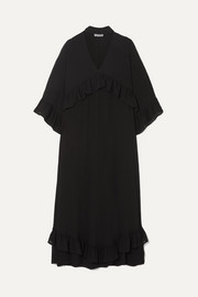 GANNI Ruffled seersucker midi dress