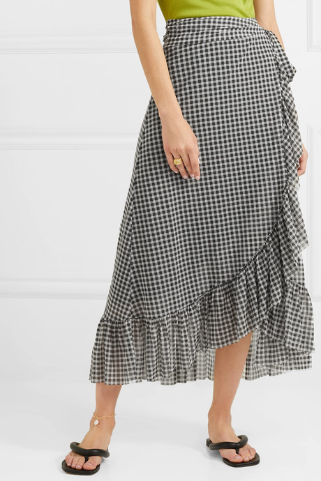 Ruffled gingham mesh wrap skirt