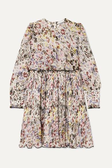 Floral Print Plissé Georgette Mini Dress by Ganni
