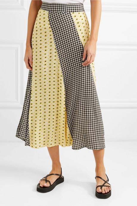 Printed crepe de chine midi skirt