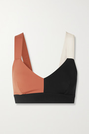 Elsa color-block stretch sports bra