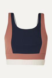 Poppy color-block stretch sports bra