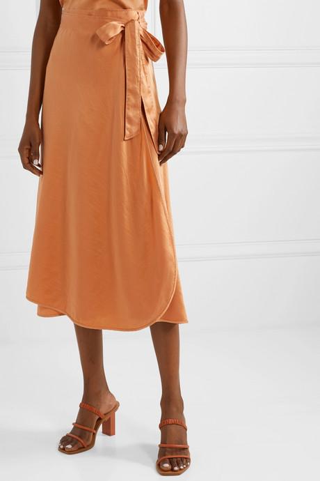 Hammered silk-satin wrap skirt