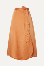 Hammered silk-satin wrap skirt