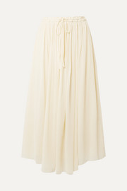 Silk-crepon midi skirt
