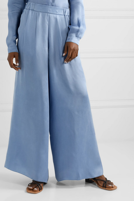 Washed-satin wide-leg pants