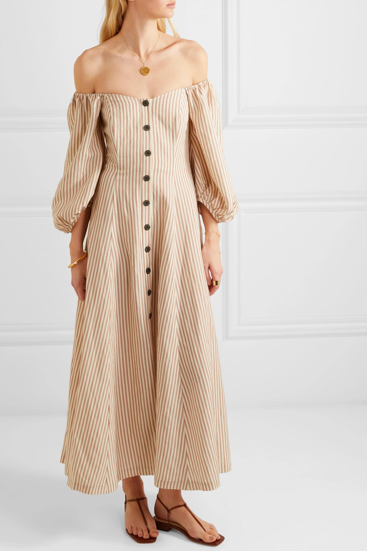 Mara Hoffman + NET SUSTAIN Mika off-the-shoulder Tencel and linen-blend midi dress