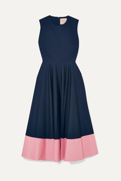 Roksanda Dresses Athena two-tone gathered cotton-poplin midi dress