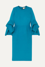 Roksanda Rhonda ruffled two-tone cady midi dress