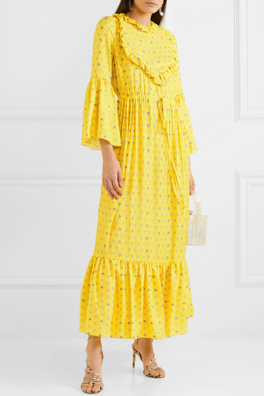 Preen by Thornton Bregazzi Tessa ruffled floral-jacquard maxi dress