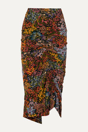 Preen by Thornton Bregazzi Aaliyah ruched floral-print stretch-crepe midi skirt
