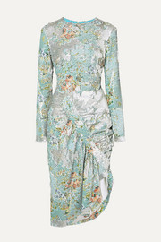Daisy ruched floral-print sequined crepe midi dress