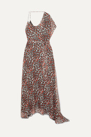 Alessandra one-shoulder leopard-print chiffon maxi dress