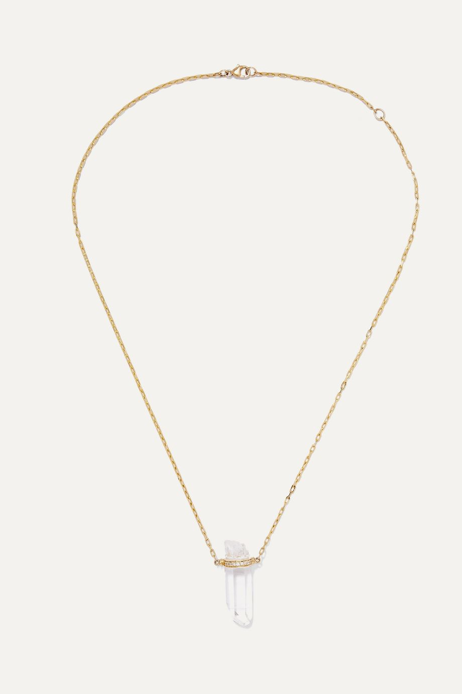 Harris Zhu 14-karat gold, crystal quartz and diamond necklace