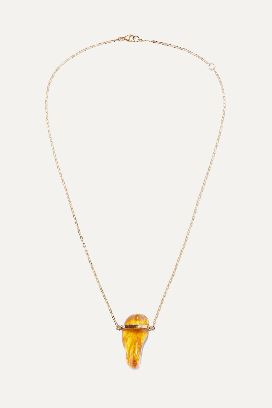 Harris Zhu 14-karat gold amber necklace