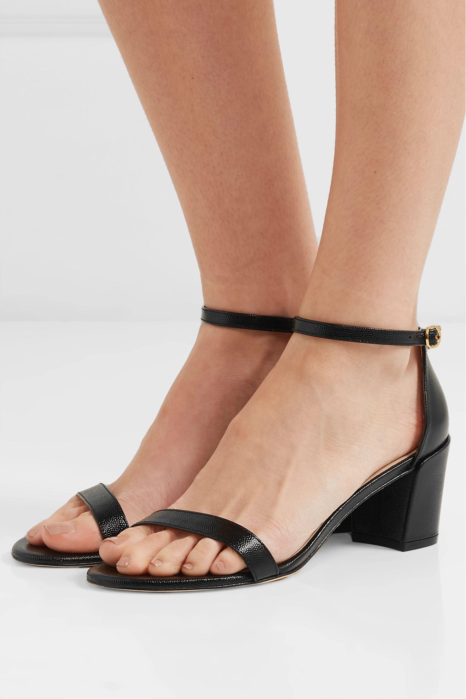 Black Simple textured-leather sandals