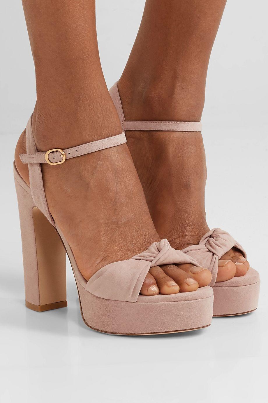 Stuart Weitzman Mirri knotted suede platform sandals
