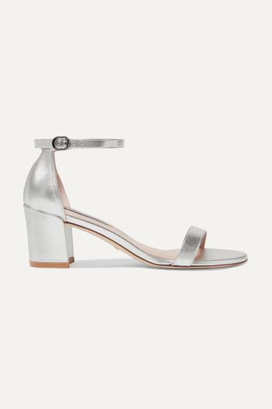 Stuart Weitzman Simple Metallic Leather Block Heel Sandals In Tin Glass