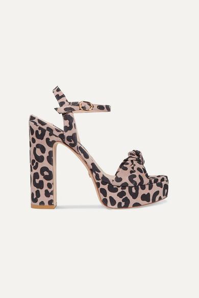 Stuart Weitzman Mirri Knotted Leopard-print Suede Platform Sandals In Leopard Print