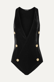 Balmain Button-embellished wrap-effect swimsuit